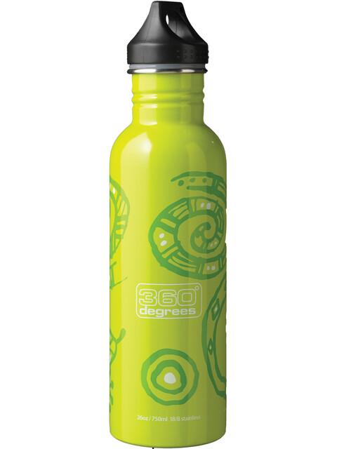 360° degrees Stainless Drink Bottle 750ml gecko on green